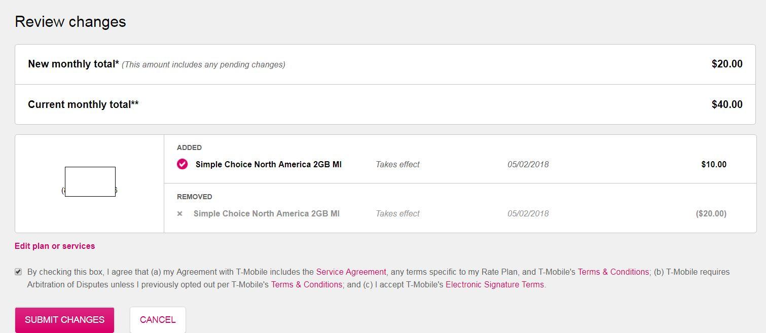 price drop for 'Simple Choice North America 2GB MI' Plan $10