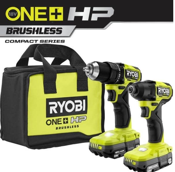 RYOBI ONE+ HP 18V BRUSHLESS Cordless COMPACT 1/2 in. Drill and Impact Driver Kit with (2) 1.5 Ah Batteries, Charger and Bag $159
