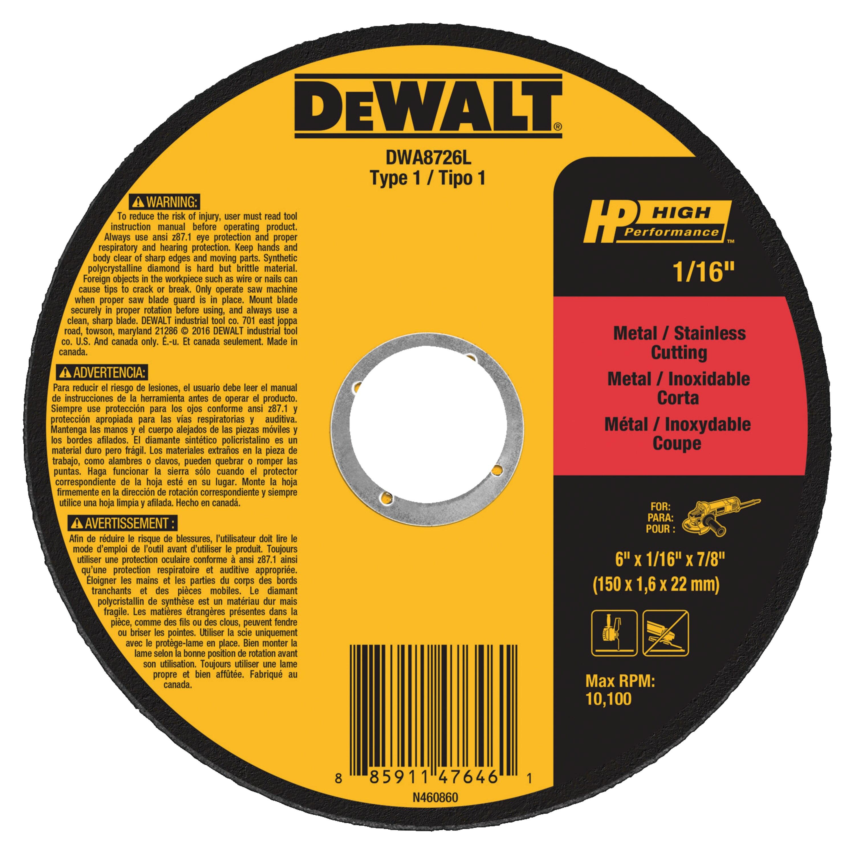 """DEWALT DWA8726L T1 HP Long Life Cut-Off Wheel, 6"""" x 1/16"""" x 7/8"""" @ $1.99"""