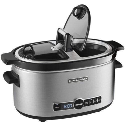 KitchenAid KSC6222SS Slow Cooker with Easy Serve Glass Lid, 6 quart, Stainless Steel [Easy Serve Lid] $41.83