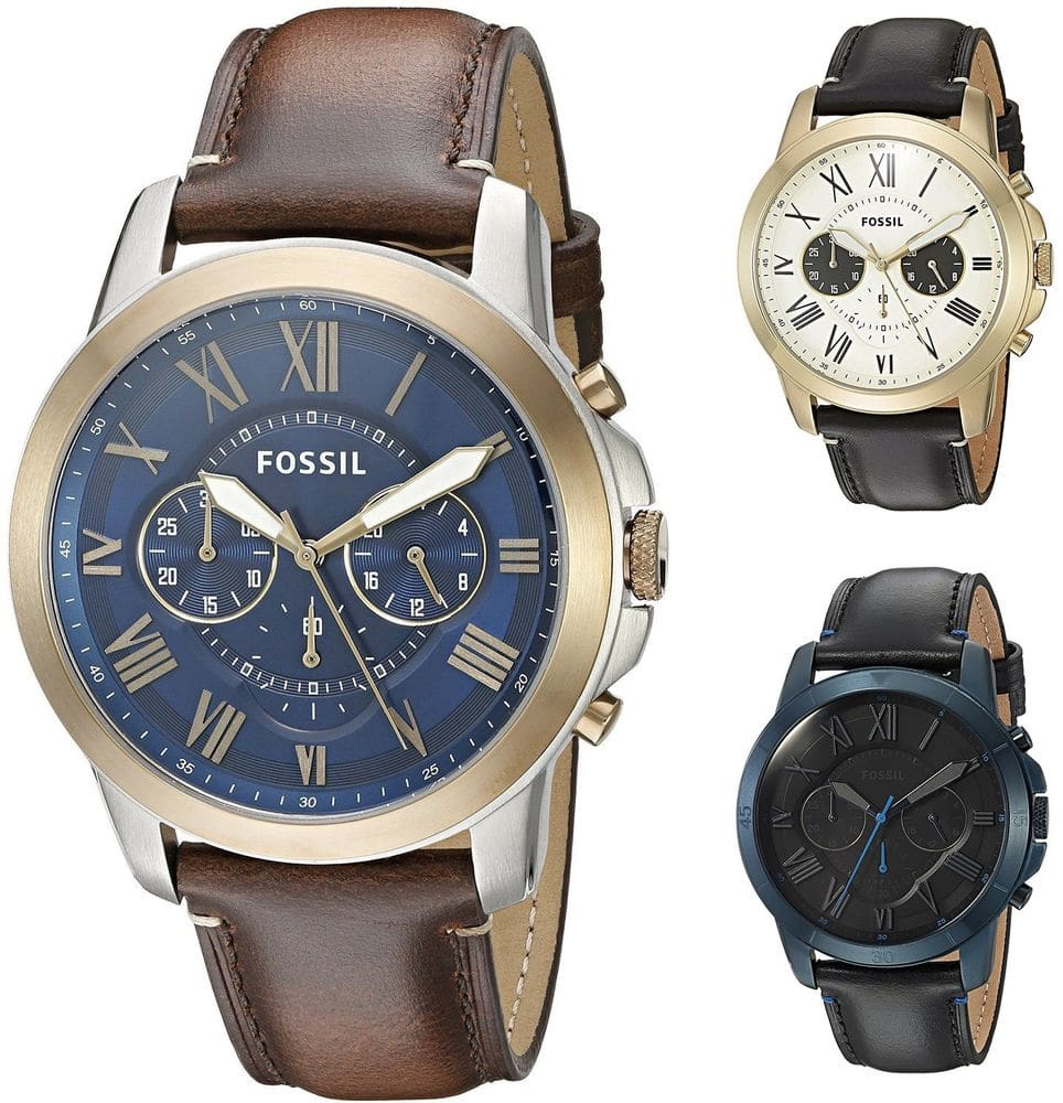 Fossil Men's Grant 44mm Chronograph Leather Watch $54.99
