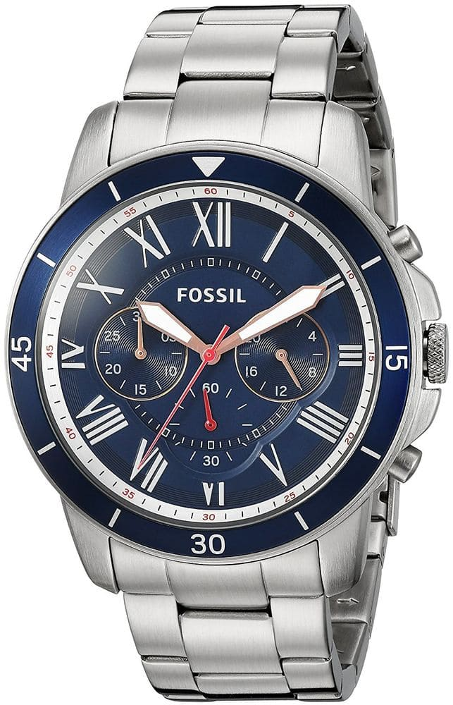 Fossil Men's FS5238 Grant Sport Chronograph Stainless Steel Blue Dial Watch -$59.99