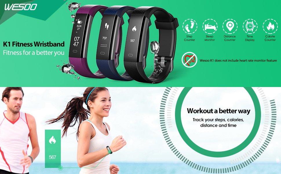 Fitness Tracker, Wesoo K1 Fitness Watch : Activity Tracker Smart Band with Sleep Monitor $22.94