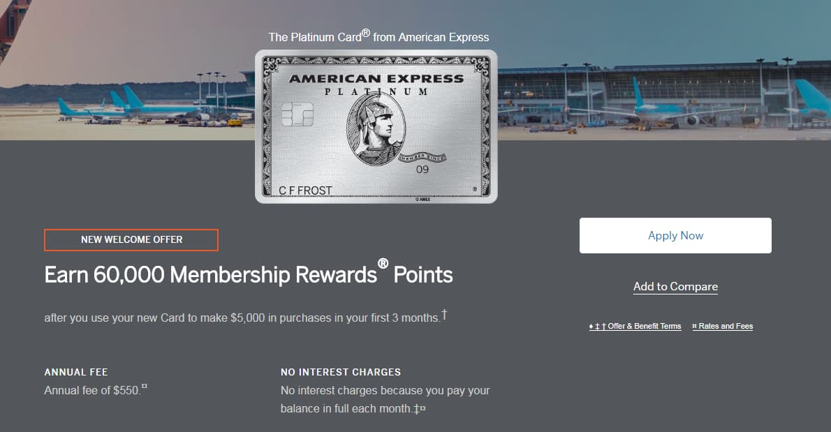 American Express Platinum Card - Earn 60K MR / Spend $5K / $550 Fee - YMMV