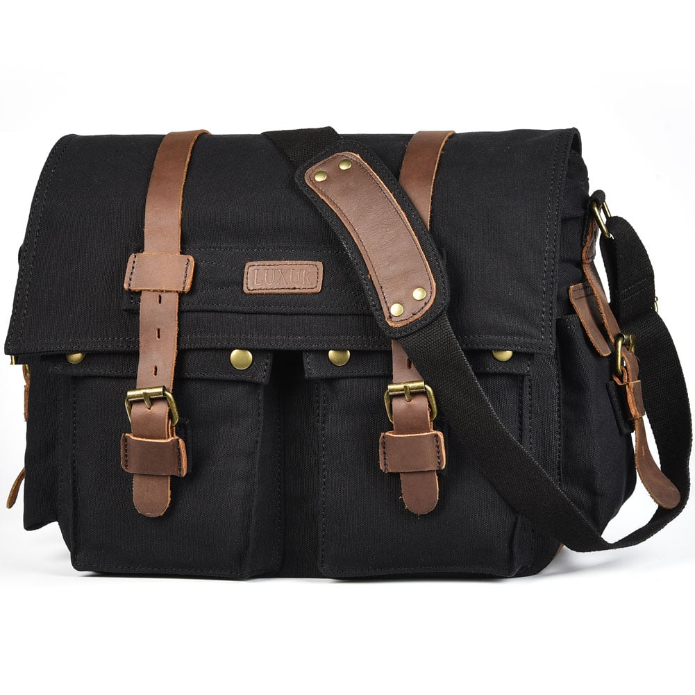 15 Inch Laptop Messenger Bag Vintage Canvas Travel Bag $19.49