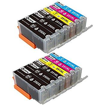 12 Pack Sotek Canon 250XL 251XL Ink Cartridges (2 Sets + 2 BK) $7.20 w/code + Free Shipping w/Prime
