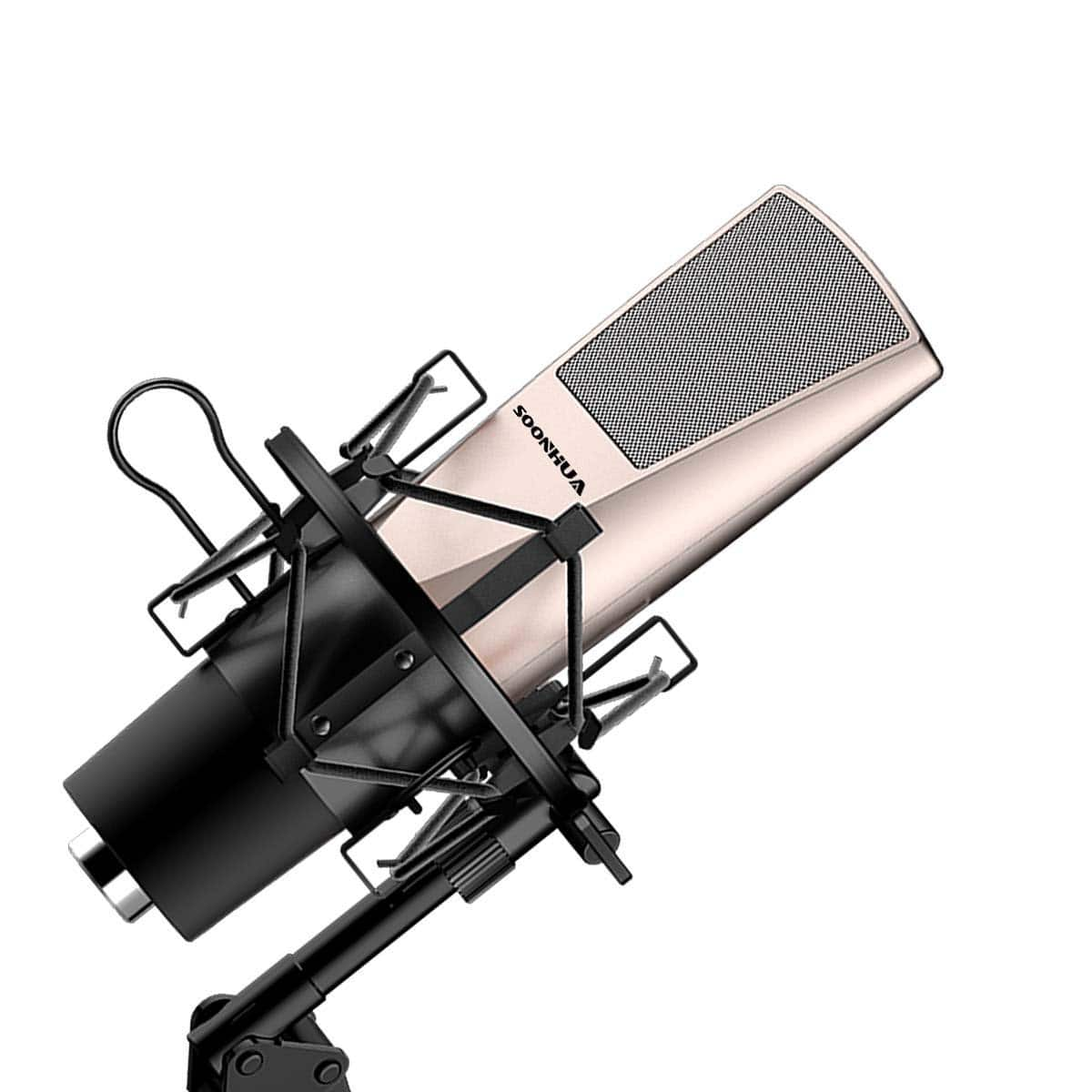 Condenser Microphone for PC, SOONHUA Professional Recording Microphone 3.5mm Studio Microphone with Shock Mount $15.99 Amazon