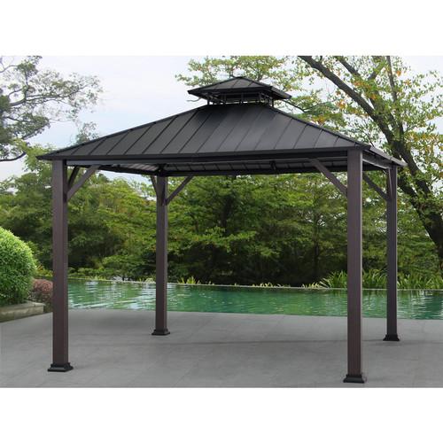 allen + roth Black/Woodgrain Metal Square Gazebo 10-ft x 10-ft $548