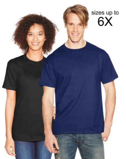 Hanes Beefy-T shirts -- $5.63/each (+ tax)