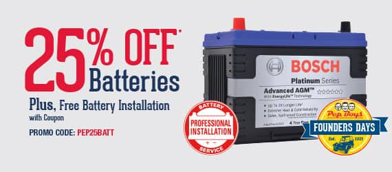 Pepboys Promo Code >> Pep Boys Automotive Batteries Free Battery Installation 25 Off