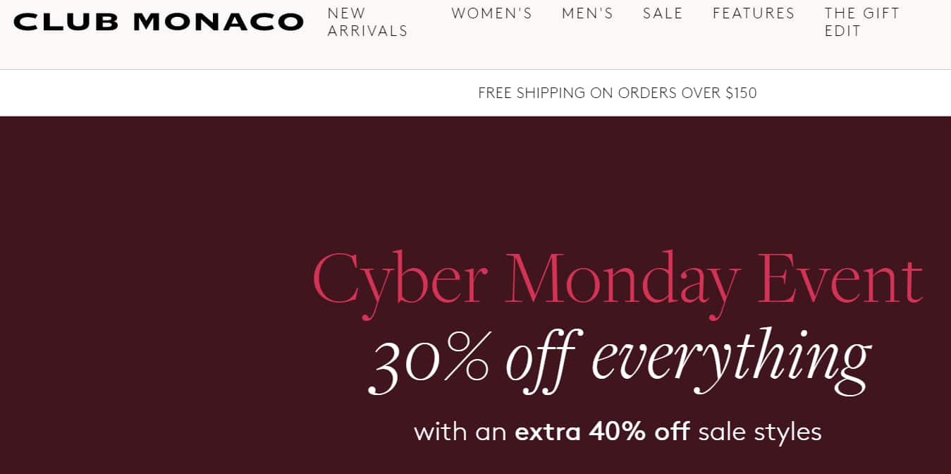Club Monaco - 30% off everything with an extra 40% off sale styles