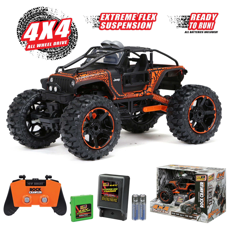 Walmart B&M YMMV New Bright RC 4x4 1:10 Scale Remote Control Truck Jeep Rock Crawler 2.4GHz 9.6V, Orange $5.00