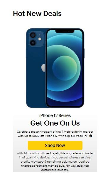Sprint - free iPhone 12 with trade of iPhone 8 or higher (24 month bill credits).  Existing Customers - YMMV