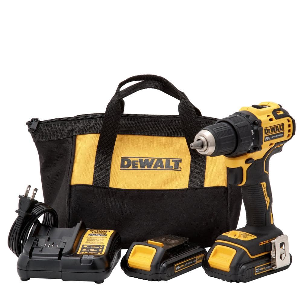 DEWALT ATOMIC 20-Volt MAX Lithium-Ion Brushless Cordless Compact 1/2 in. Drill Driver w/ (2) Batteries 1.3Ah, Charger & Bag $99