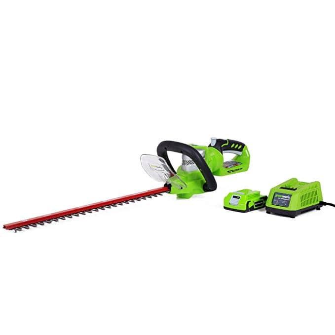 "Amazon has Greenworks 22"" 24 volt hedge trimmers w/battery and charger for $39.84"