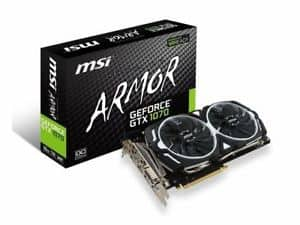 MSI GeForce GTX 1070 ARMOR 8GB OC GDDR5 SLI DirectX 12 VR Ready Video Graphic $310 + Free Shipping