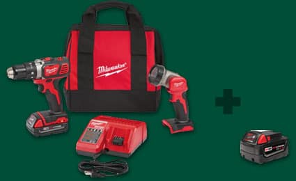 Milwaukee M18 1/2 In. Compact Drill/Driver Kit with Free LED Work Light & Free M!8 4.0 Battery $105 Shipped