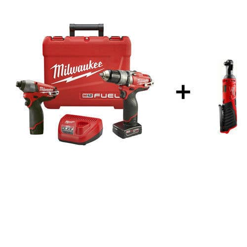 milwaukee m12 fuel hammer drill & impact driver kit with 3/8 ratchet ...