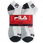 6-PK Men's FILA Swift-Dry Socks $6 or 12-PK Jerzees No Show Socks for Boys/Girls $6 + FS