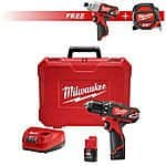 "Milwaukee 2407-22 M12 3/8"" Drill + Impact Driver + 25' Tape Measure $129 + FS & More"