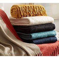Pottery Barn Deal: Throws: Bryson Knit (Tumbleweed) $20 or Faux Mohair (Cardinal)