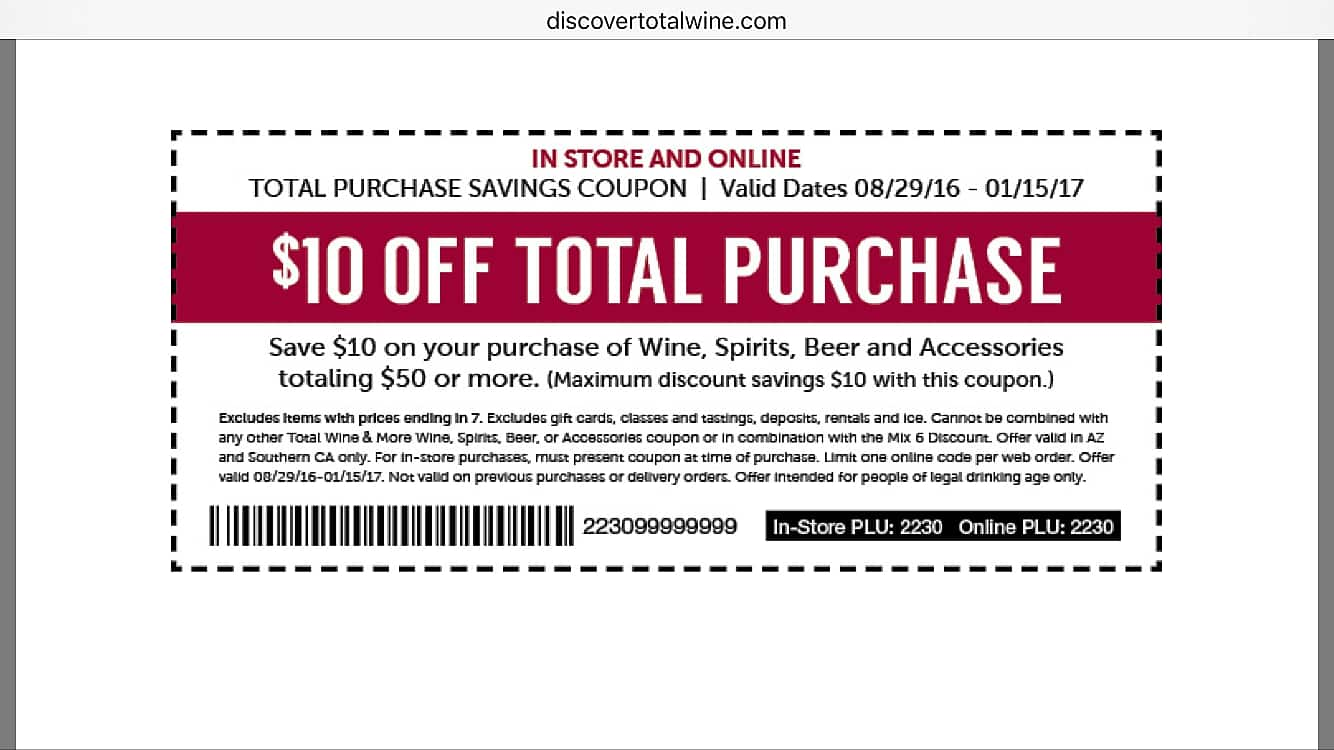 Jun 25,  · Top-Rated Total Wine Coupons or Promo Code – $10 Off The Purchase. – Save 15% On $ Orders. – Enjoy 15% Off $ or more. – $5 Off All Orders. – Enjoy 10% Off Any 4 Or 6 Pack Of Beer $ Or Higher. smokey – Take $15 Off $ or more spend. JUNESAVE – Get Up To $40 Off $+ On Winery Direct Wines.5/5(1).