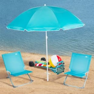 Acadamy Sports - 5pc Beach Gear Set - Blue (2 beach chairs, Umbrella, wheeled cart, carry bag) - $35 Shipped