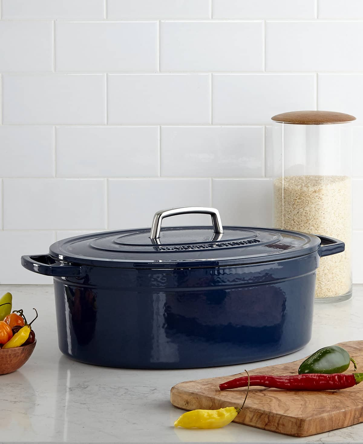 Macy's - Martha Stewart Collection Collector's Enameled Cast Iron 8 Qt. Oval Casserole, Blueberry (dark navy blue) - $71.23