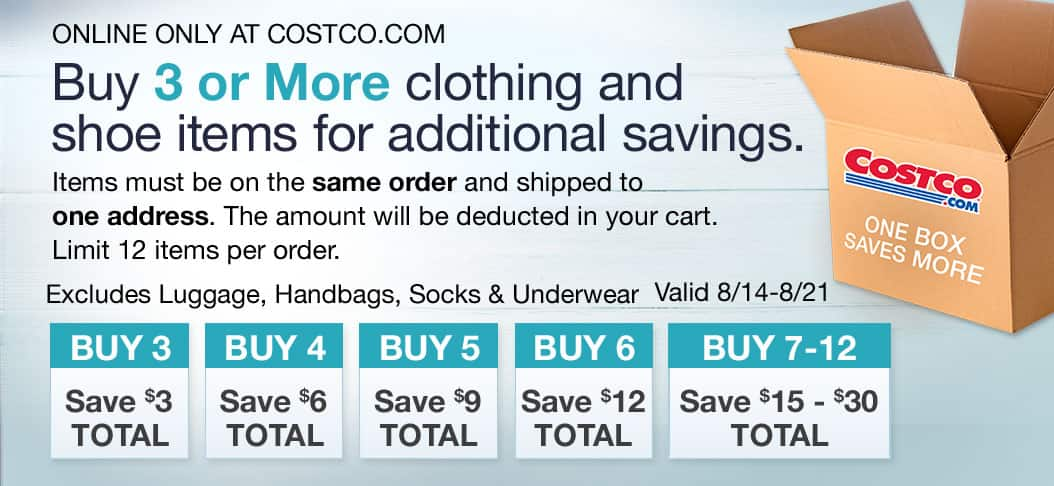 Costco.com - Buy 3 or more Clothing or Shoe items for additional savings, up to $30 off
