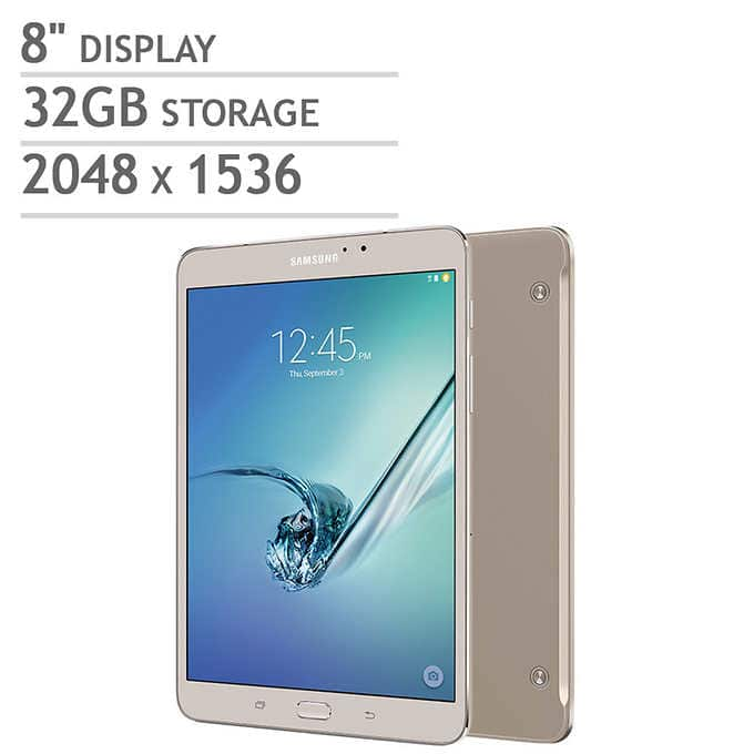 "Costco - 8"" Samsung Galaxy Tab S2 Wi-Fi Tablet - Octa Core - Android Marshmallow - Gold or Black - Includes Book Cover - $270 (through 8/2)"
