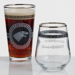 Cost Plus World Market - Game of Thrones Licensed Stemless Wine Glasses or Pint Pub Glasses - Set of 2 on clearance $9.99