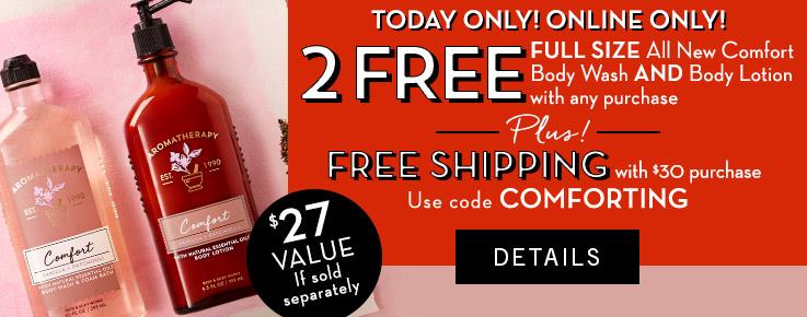 Bath & Body Works - Free Full Size Aromatherapy Vanilla & Patchouli Body Wash & Body Lotion + Free Shipping @ $30