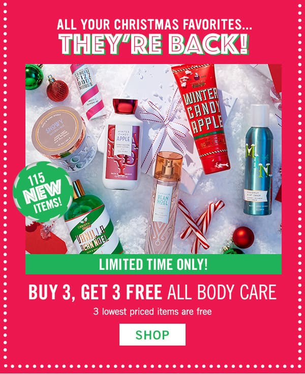 Bath & Body Works - $2.95 Wallflower Refills, $12.50 3 Wick Candles, B3G3 Body Care + More