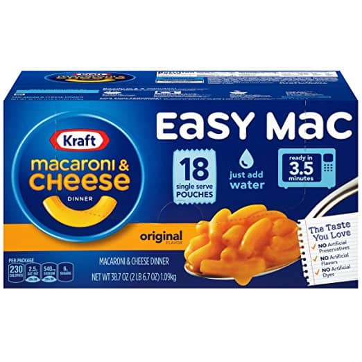 Amazon - Kraft Easy Mac Original Macaroni and Cheese Dinner 18 Microwaveable Single Serve Packets - $6.49 after $2 coupon (as low as $5.60 with 5 item S&S)