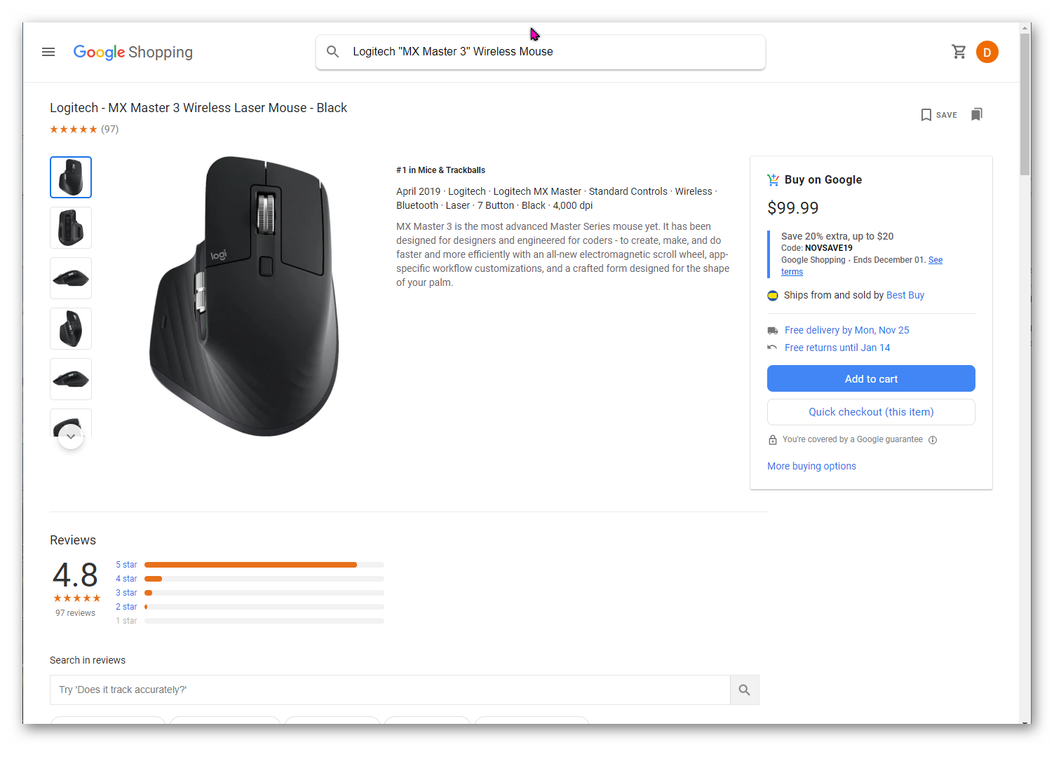 Logitech MX Master 3 Wireless Mouse @Buy On Google from Best Buy $99.98 less 20%, free ship + tax
