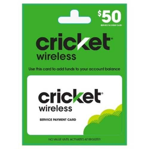 Cricket Wireless Service Payment Card/Refill (Email Delivery): Target  5% off