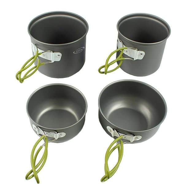 4 Piece Outdoor Camping pan Hiking Cookware Backpacking Cooking Picnic Bowl $15.99