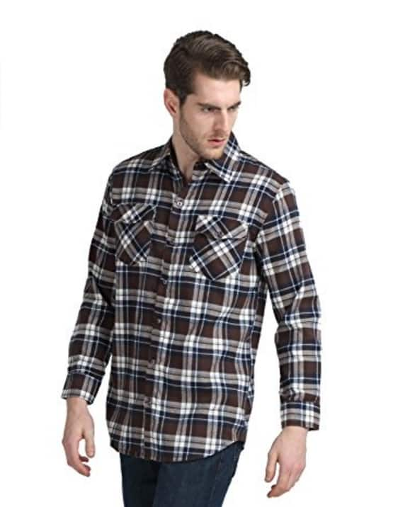 Men's Long Sleeve Plaid Checked Flannel Shirt $9.99 FS @ Amazon