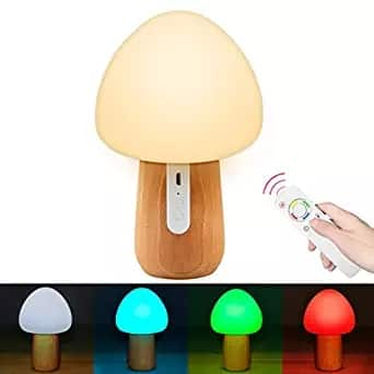 Remote Control Night Light,100% Beech Wooden Eye-caring LED Mushroom Nursery Lamp, for Baby Kids Adults Bedroom (Brightness Adjustment & Colors Cycles) $17.93
