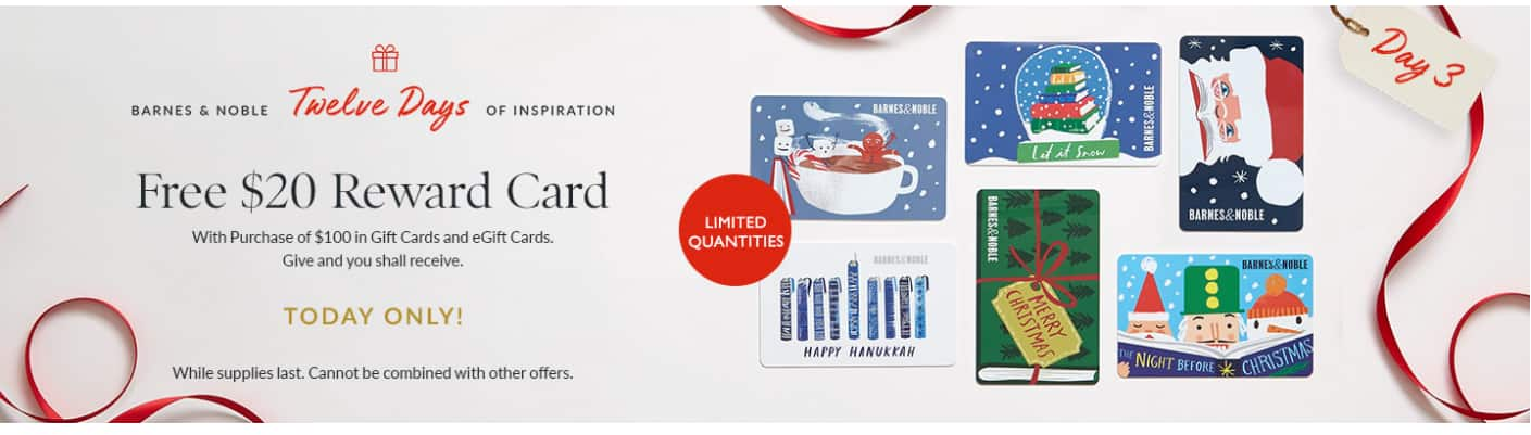 Barnes and Noble Buy $100 Gift Card, Get $20 Reward TODAY ONLY