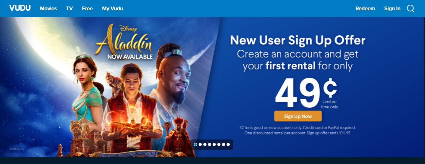 Vudu New User SIgn up: First rental $0 49 - Slickdeals net
