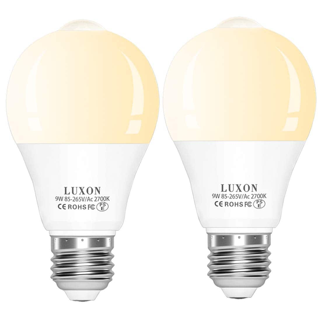 2-Pack PIR Motion Sensor Light Bulbs 9W Warm White E26 Base $11