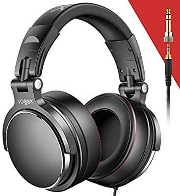 Vogek Over-Ear DJ Headphones, Professional Studio Monitor Mixing DJ Headset with Protein Leather Memory Foam Ear Pads $19.79 AC