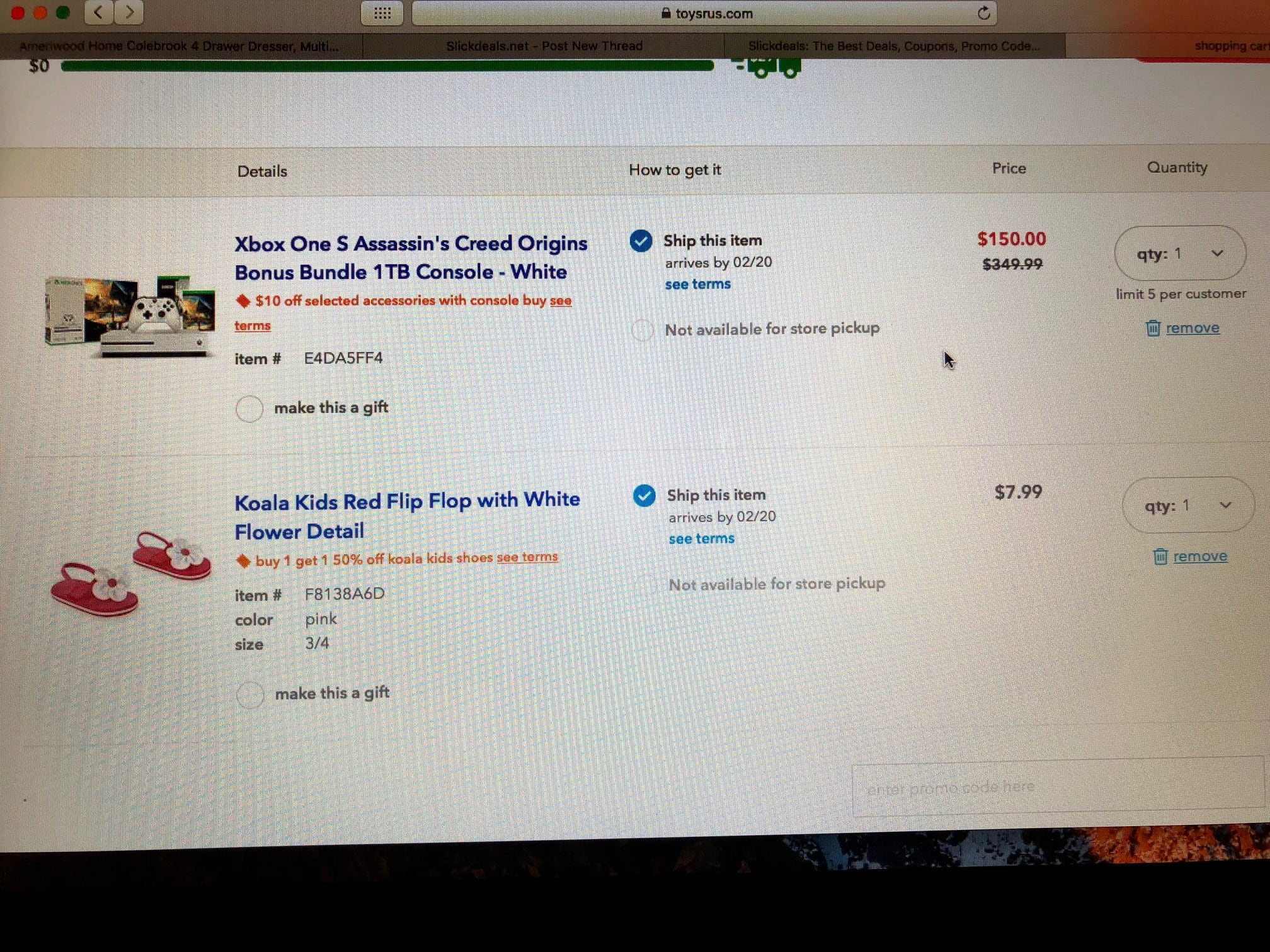Toys R Us 50% off Xbox One YMMV $150, 50% off other items included