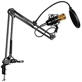 Floureon BM-800 Condenser Microphone Black+ Pop Filter Wind Screen + Arm Stand with XLR Male to XLR Female Microphone Cable for $6