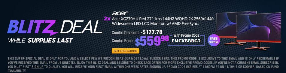 "2 Item Combo - Acer XG270HU Red 27"" 1ms 144HZ WQHD 2K 2560x1440,  $559.98"