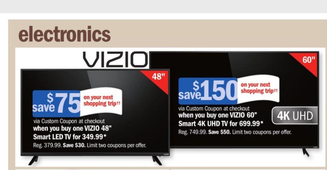 """60"""" VIZIO E60-E3 ($549.99 net) $699.99 + $150 store credit / 48"""" D48-D0 $274.99 net after $75 credit"""