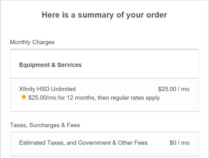 Comcast Xfinity Unlimited Bandwidth - $25 per month x 12 months