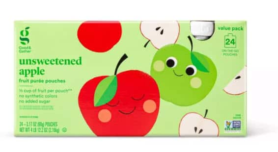 Unsweetened Applesauce Pouches 24ct  Good & Gather $6.64