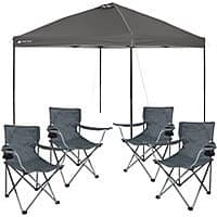 Walmart Deal: Ozark Trail Instant 10x10 Straight Leg Canopy with 4 Folding Quad Arm Chairs Value Bundle $99 + FREE SHIPPING  @ Walmart